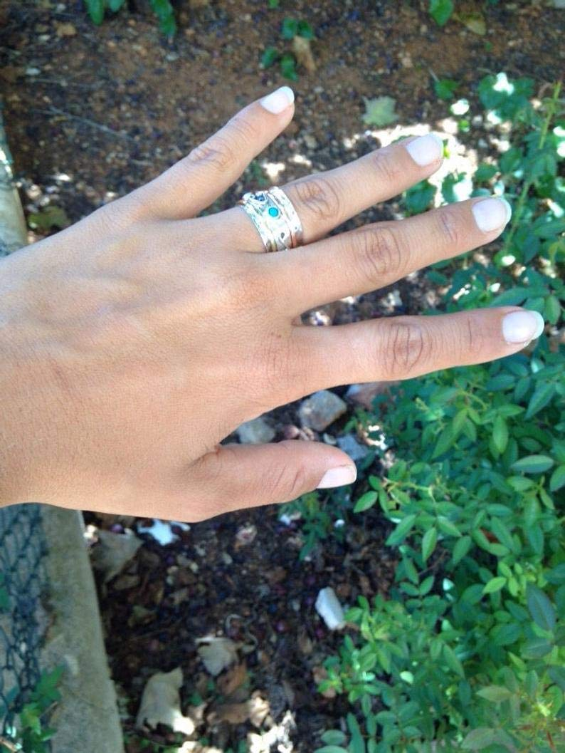 und Kupferelementen und t/ürkisfarbenem Edelstein besetzt mit Messing Wundersch/öner Ring aus Sterlingsilber Gr/ö/ße 60