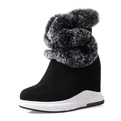 b30ff6eeb0b Amazon.com | Cow Suede Leather Warm Plush Winter Boots Woman Shoes ...