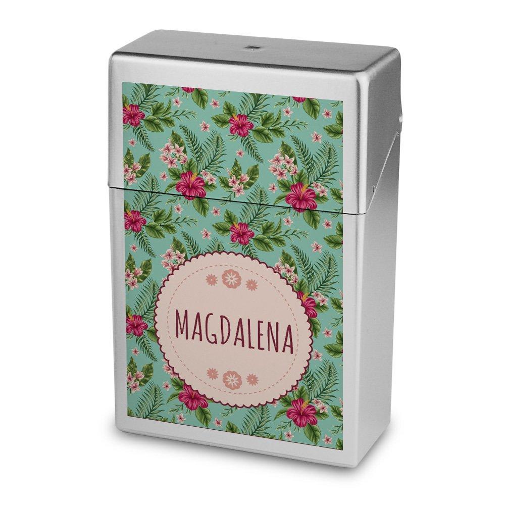 Zigarettenbox mit Namen Magdalena - Personalisierte Hü lle mit Design Blumen - Zigarettenetui, Zigarettenschachtel, Kunststoffbox