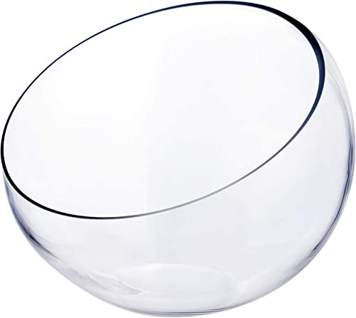CYS EXCEL Glass Slant Cut Bubble Bowl H-9 W-11 Multiple Size Choices Slanted Globe Bowl Terrarium Round Flower Vase Centerpiece
