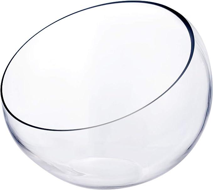 Cys Excel Glass Slant Cut Bubble Bowl H 9 W 11 Multiple Size Choices Slanted Globe Bowl Terrarium Round Flower Vase Centerpiece Home Kitchen Amazon Com