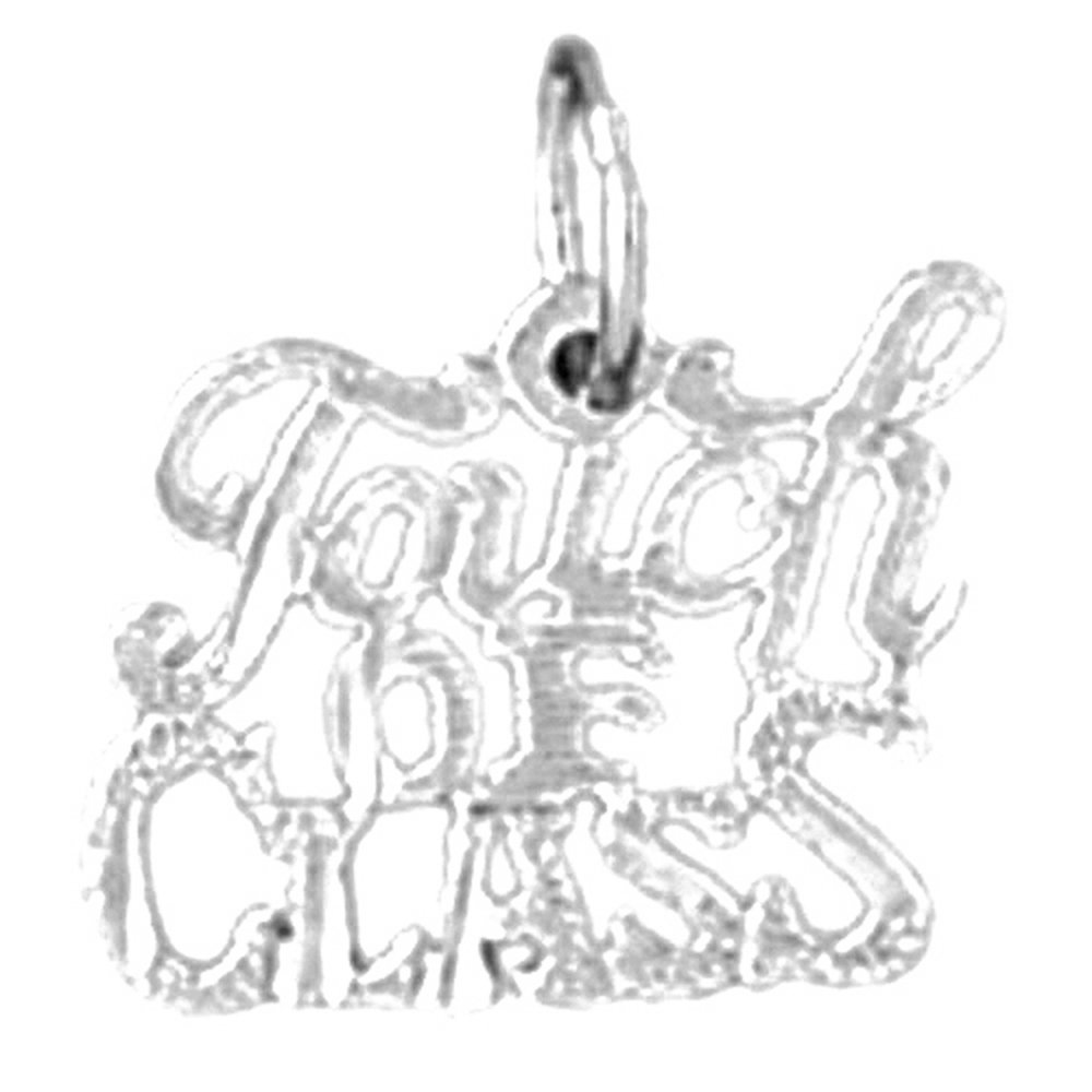 14K White Gold Touch of Class Saying Pendant 14 mm Jewels Obsession Touch of Class Saying Charm Pendant