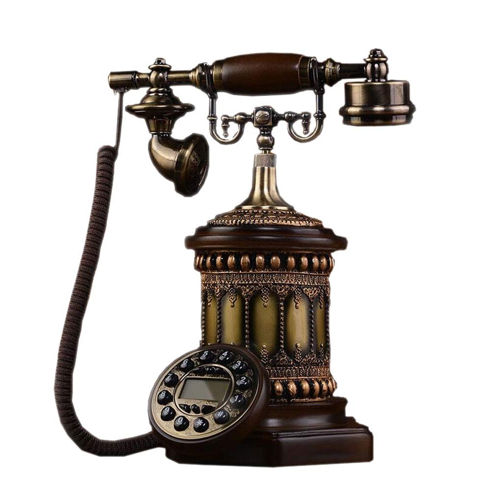 LCM European Retro Telephone Solid Wood Metal Button Dial Garden Fashion Creative Seat Home Office by LCM