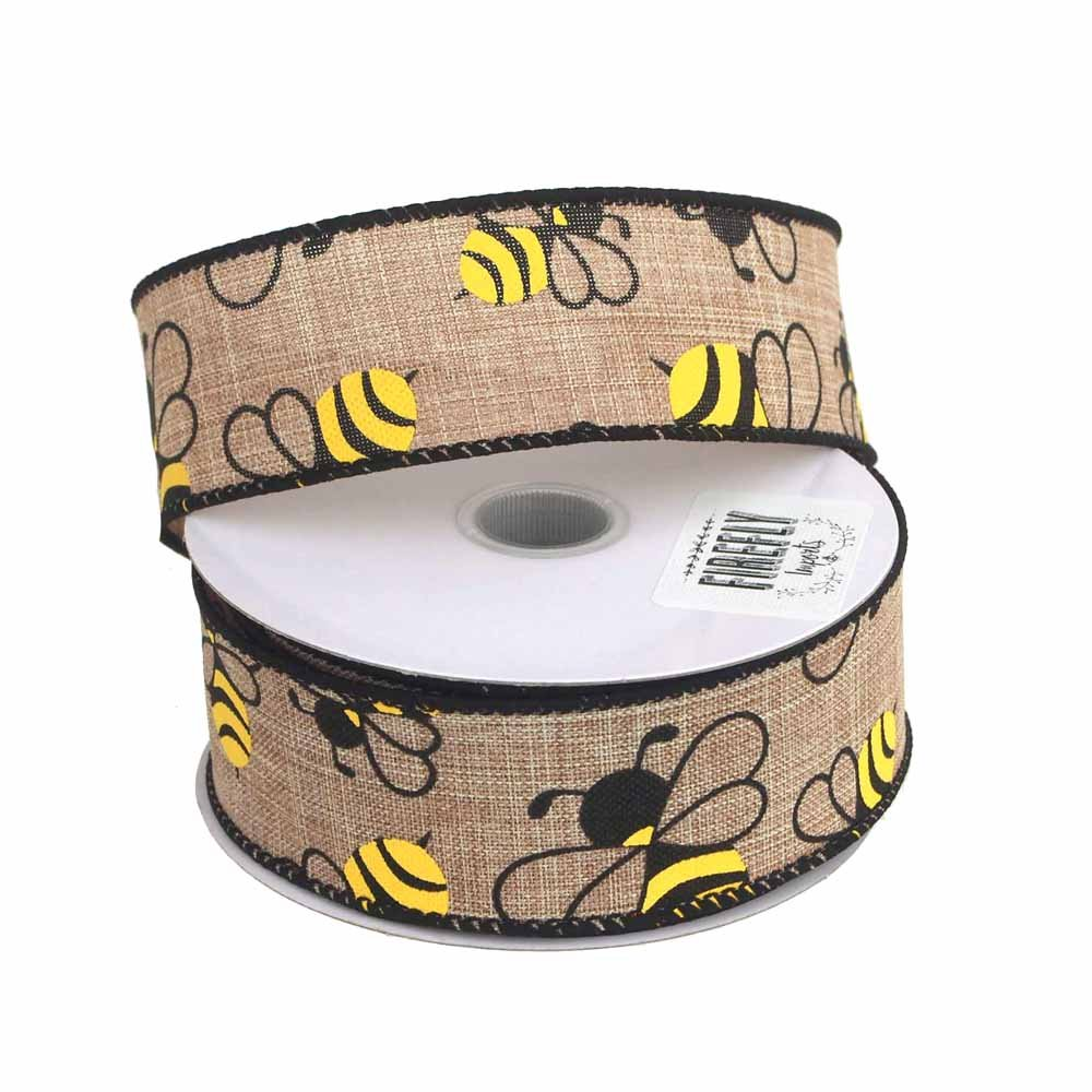 Bumblebees Natural Linen Ribbon Wired Edge 10 Yards 1-1//2-Inch