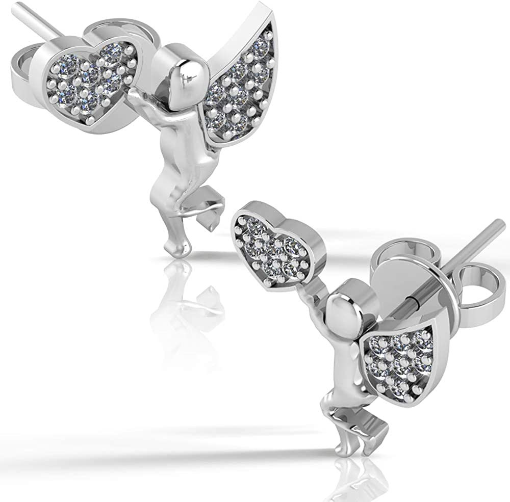 .925 Sterling Silver & Pavé-Set Cubic Zirconia Petite Stud Earrings (Choice of Shapes)