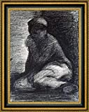 """This 25.25"""" x 31.25"""" premium giclee canvas art print of A Young Man Crouching by Georges Seuratis meticulously created on artist grade canvas utilizing ultra-precision print technology and fade-resistant archival inks.Every detail of the artwork is..."""