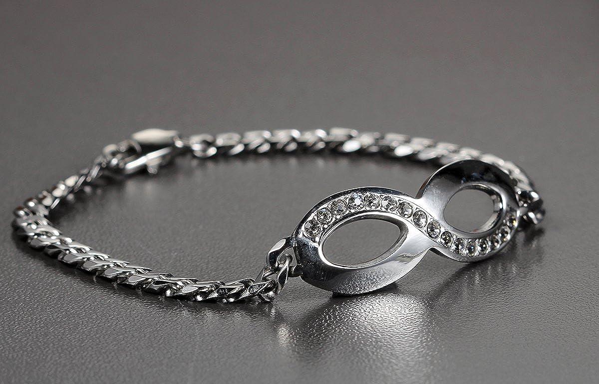 Flongo Glitter Rhinestone Womens Girls Stainless Steel Infinity Figure 8 Shape Friendship Valentine Gift Charm Link Bracelet