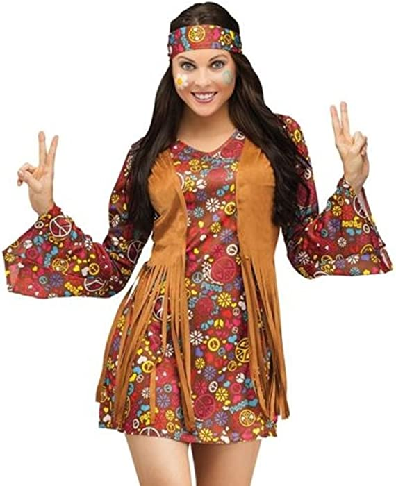 Adult 60s 70s Groovy Lady Hippy Flower Power Womens Ladies Fancy Dress  Costume Size 14. Back. Double-tap to zoom e7953032b28