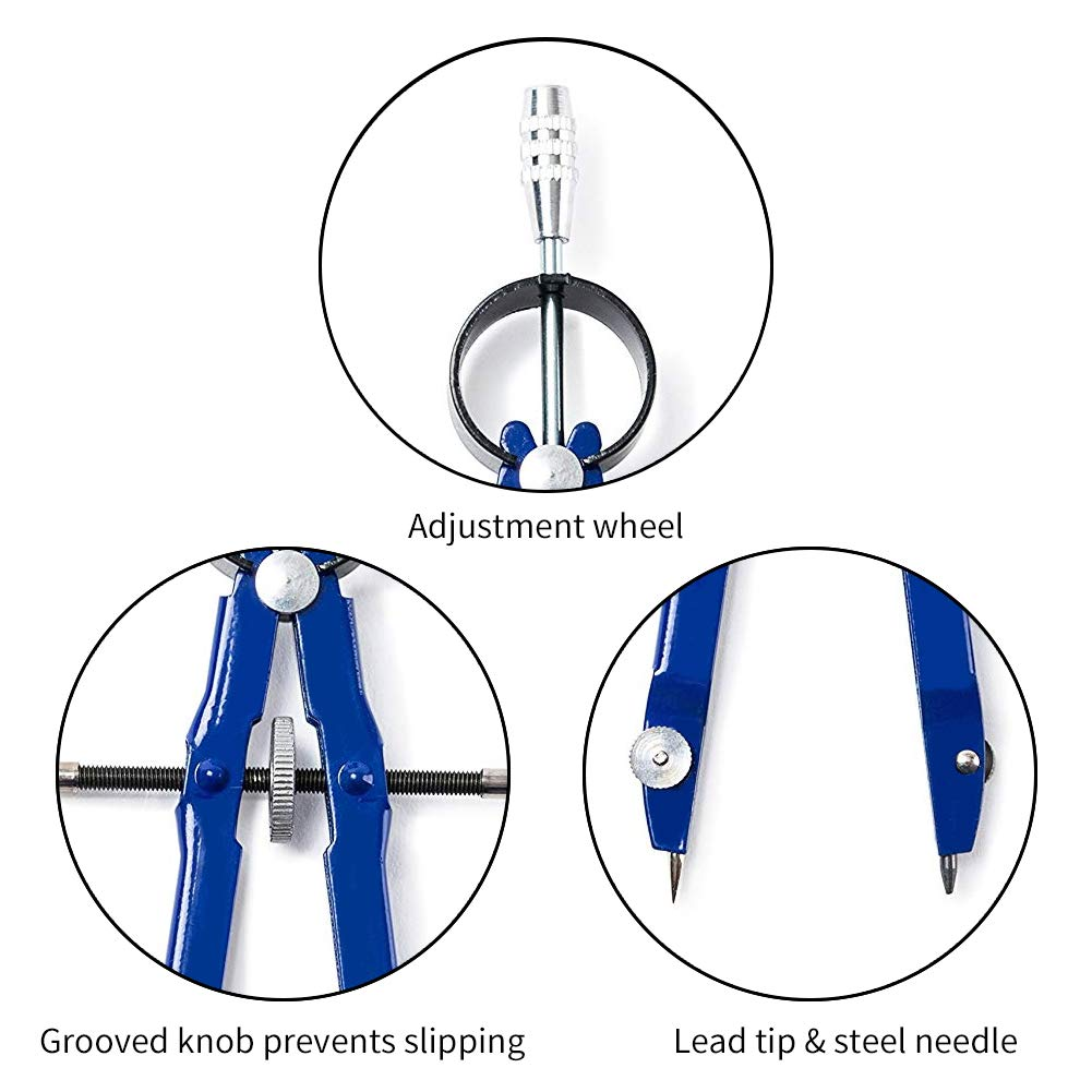 6 Pcs Math Compass Geometry Metal Drafting with Spare Leads and Screws for Office Supply 6 Pcs, Black + Sliver + Blue