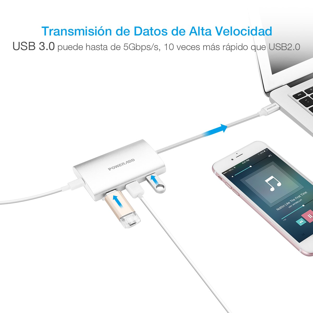 POWERADD Hub USB 3.0 3 Puertos con 1 Puerto Type-C con PD para Mac Book, New Mac Book y Otros Dispositivos de Type C-Argentado