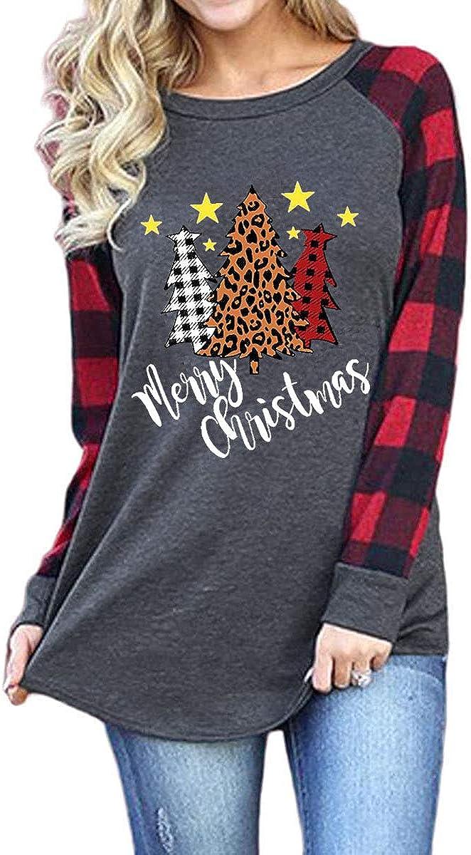 Women's Merry Christmas Shirt Tops Funny Christmas Plaid Long Sleeve Raglan Baseball T-Shirt