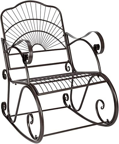 Knocbel Outdoor Patio Rocking Chair Porch Metal Rocker Rust-Resistant
