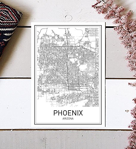 City Maps, City Map Poster, Phoenix Map Print, Phoenix Map Poster, US city Map, Map Print, Map Art Print, Arizona Print, Map Wall Art, Map Art, Modern City Art, Scandinavian (Arizona Wall Map)