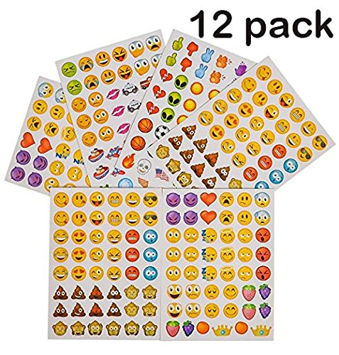 12 Pack Of Emoji Stickers, Each Pack Contains 6 Sheets Of Stickers, 48 Stickers Per Sheet, All Together 3,456 Stickers In Different Popular Emoticons – Great Party Favor, Prize, Gift – By Kidsco