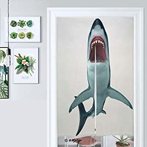 Homenon Japanese Noren Doorway Curtain Megalodon Shark Front Silhouette Prehistoric Shark May Gr Door Way Curtain Fitting Room Curtain Partition Curtain Door Hanging Tapestry W33.5 x L59 №009806