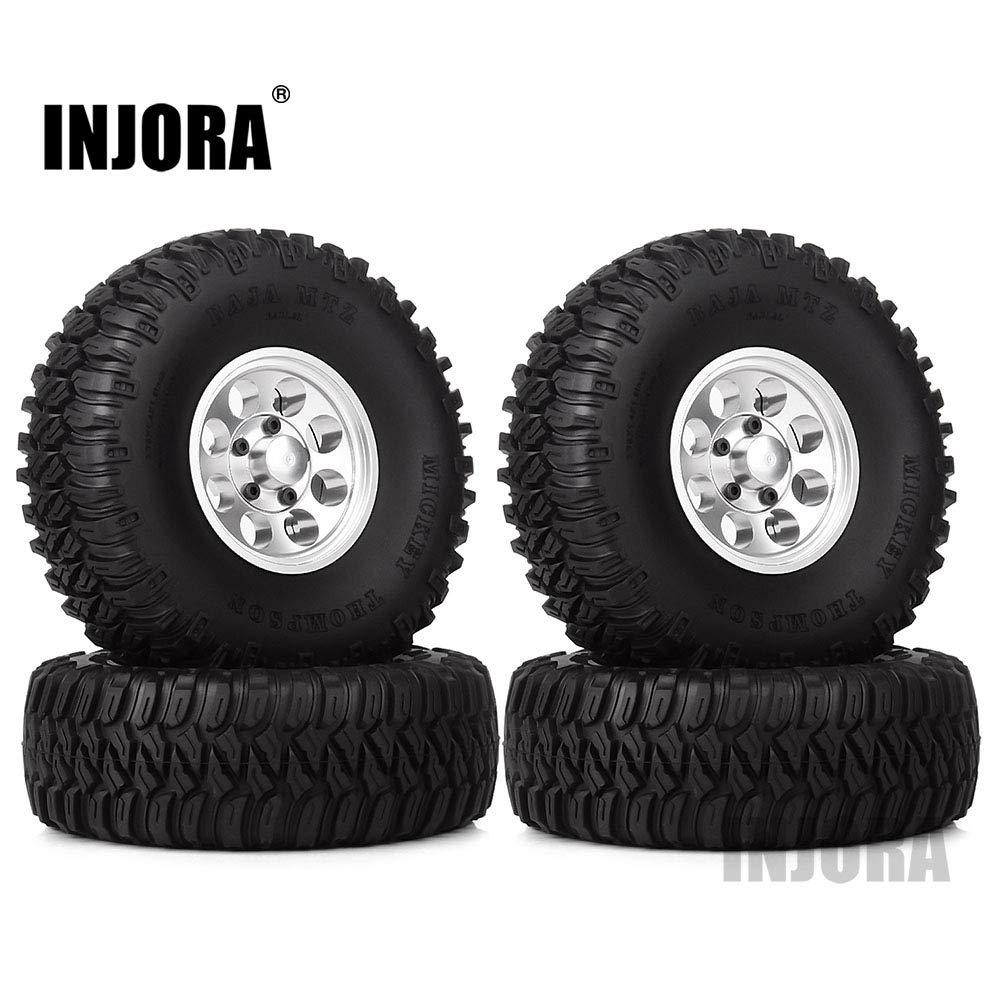 INJORA 4Pcs 1.55'' Aluminum Wheel Tires 1.55 Inch Tyre for RC Crawler Car RC4WD D90 TF2 Tamiya CC01 LC70 LC80 (Silver)