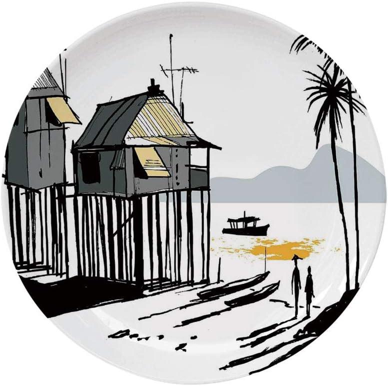 Amazon Com Ylljy00 Coastal Decor 8 Dinner Plate Sketchy Fishing Village Malay In Singapore With Houses Canoe Palms Sun Ceramic Decorative Plates Dining Table Tabletop Home Decor Black Grey Orange Home Kitchen