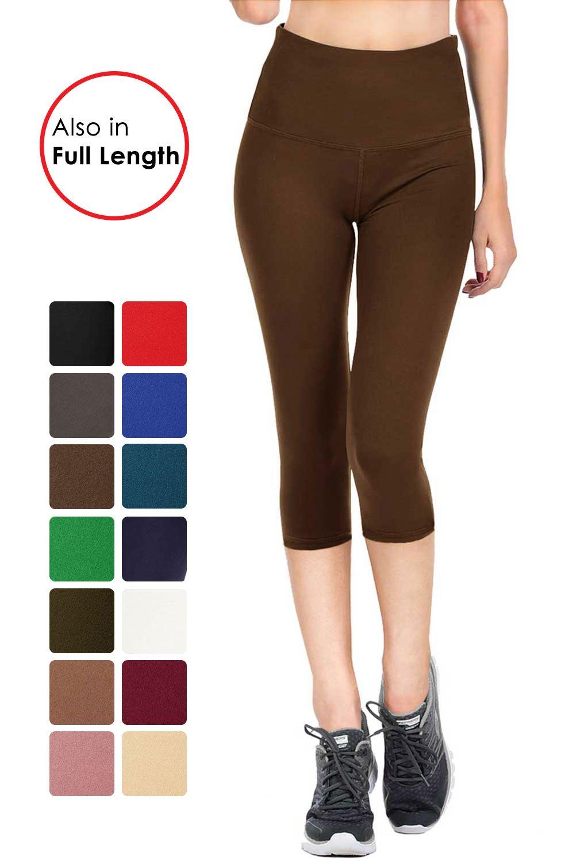 VIV Collection Signature Capri Leggings Soft w Pocket (XL, Dark Brown)