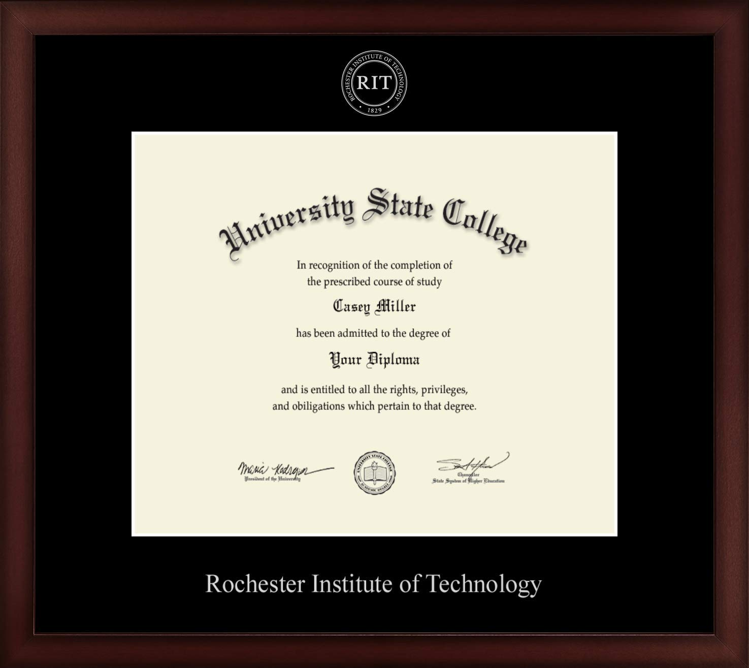 Rochester Institute of Technology - Officially Licensed - Silver Embossed Diploma Frame - Diploma Size 12'' x 10''