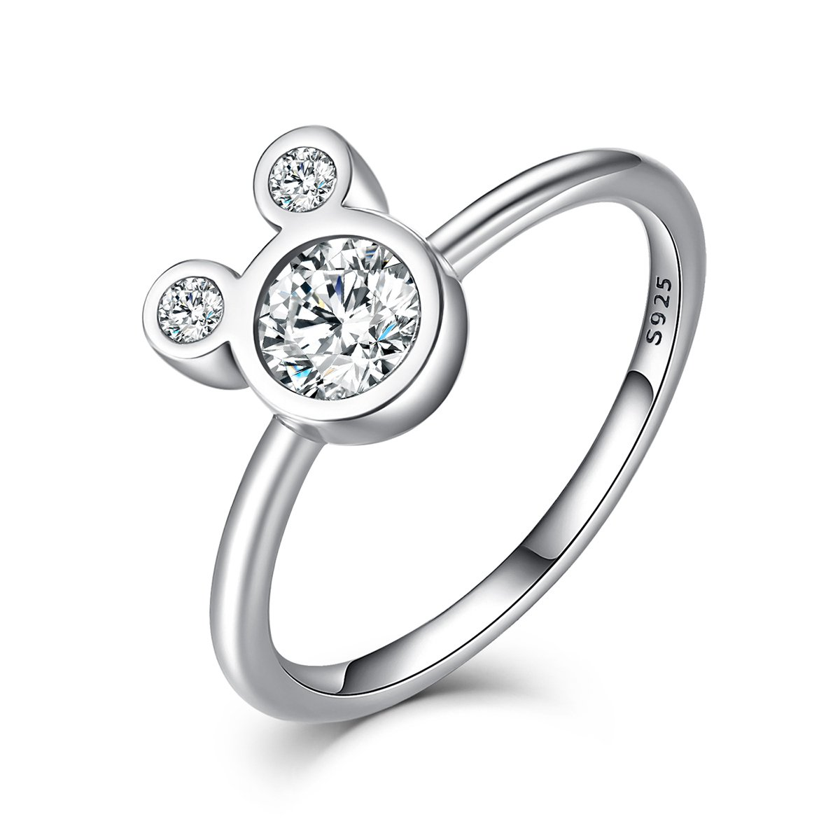BISAER Women's Mick Mini Mouse Rings Sterling Silver Plated Cubic Zirconia Cartoon Mini Mouse Silver Rings For Women Girl Party Jewelry (6)