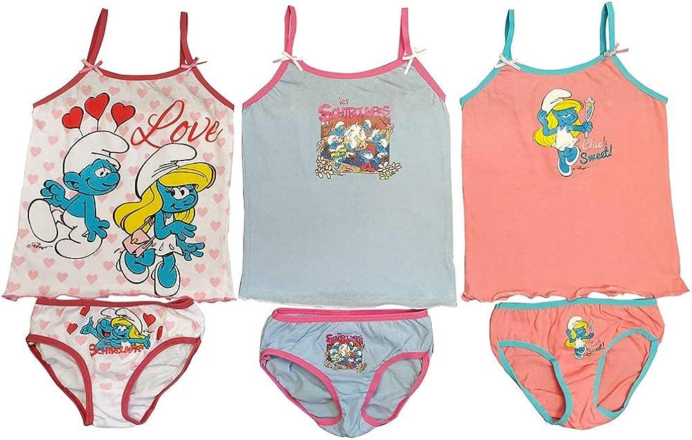 Los Pitufos La Ropa Interior Set 6pcs. para niñas Que consisten en Camisas y Calzoncillos/Calzoncillos de algodón 100% (98): Amazon.es: Ropa y accesorios