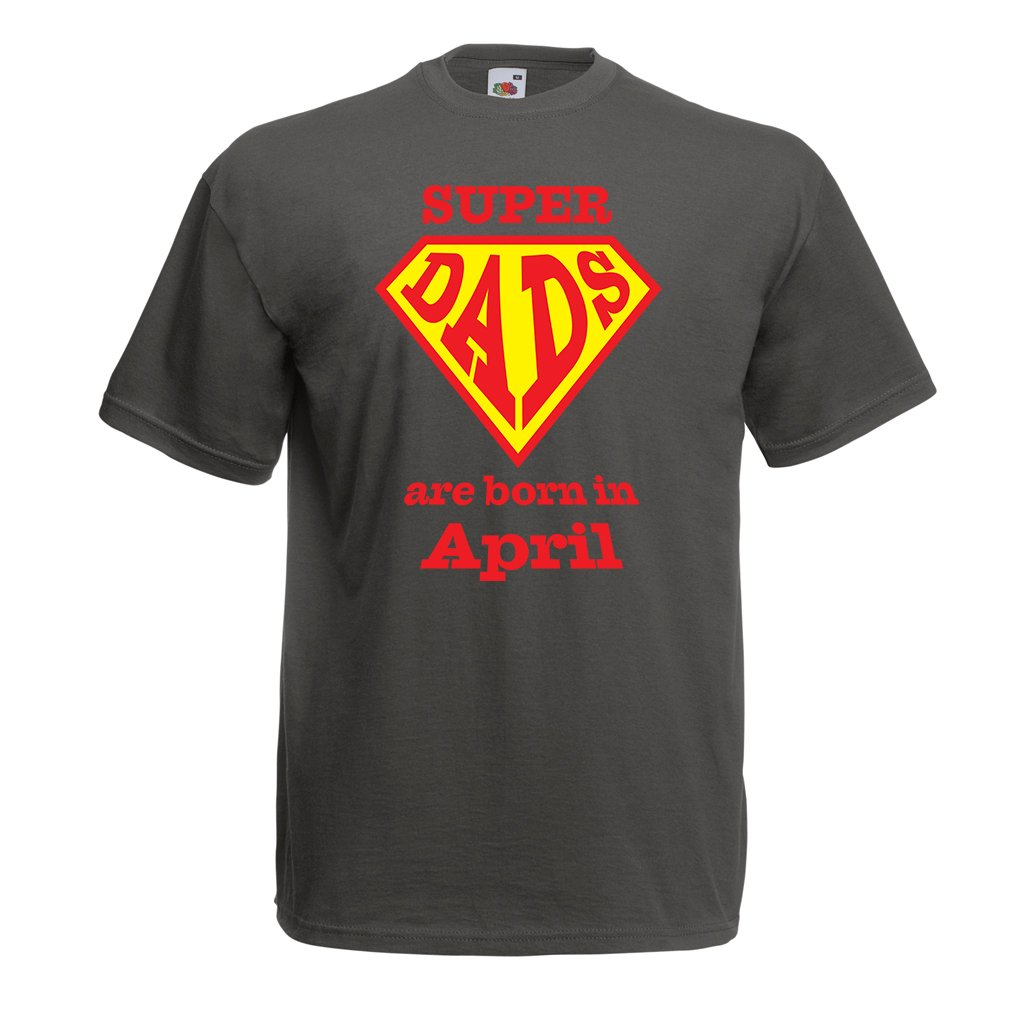 T Shirts for Men Super Hero Dads are Born in April Birthday
