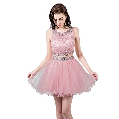 1d1bb413f9d TANGFUTI Two Piece Homecoming Dresses Short Beaded Tulle Formal Prom Gowns  010 Blush US2