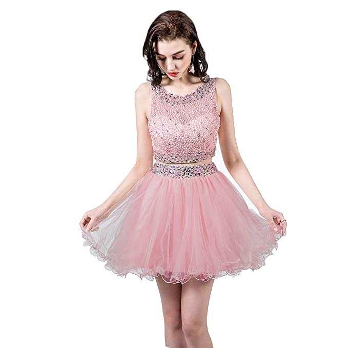 TANGFUTI Two Piece Homecoming Dresses Short Beaded Tulle Formal Prom Gowns 010 Blush US2