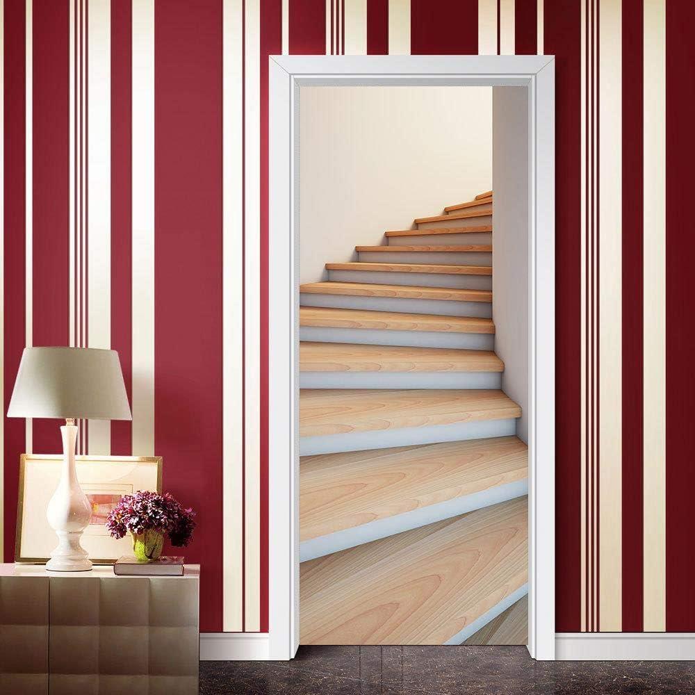 Verde 3D adhesivos creativas escalera de caracol de puerta reformado adhesivos de pared de PVC cama de dormitorio: Amazon.es: Bricolaje y herramientas