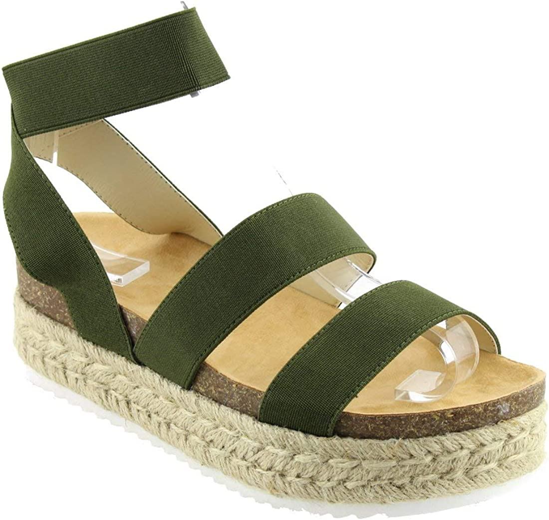 Nature Breeze Womens Kacie Closed Toe Casual Ankle Strap Sandals