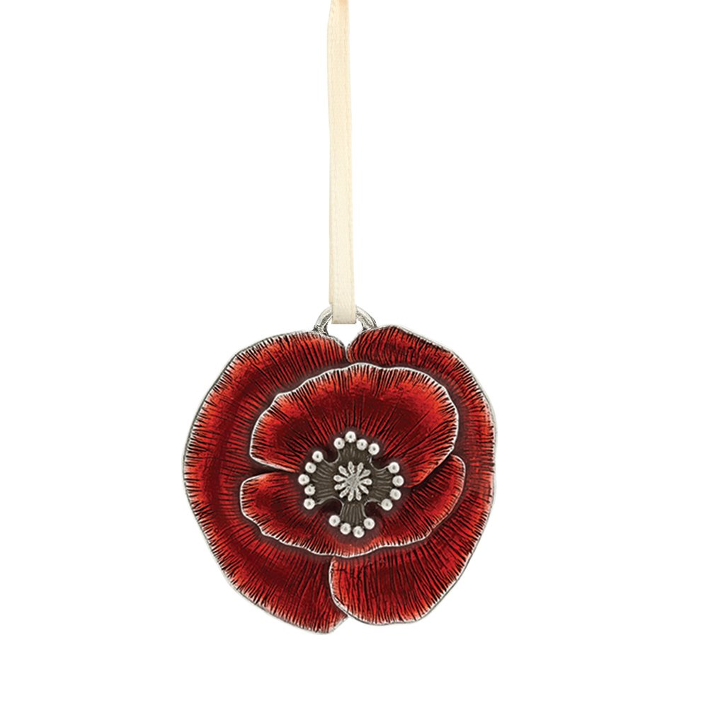 USA Pewter DANFORTH Remembrance Poppy Ornament 1 3//4 Inch Handcrafted Red Satin Ribbon