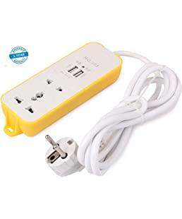 NPS Home Maker and 2 Pin Universal Socket and 2 USB Ports with 6 Feet Long Wire Extension Cord (Yellow)