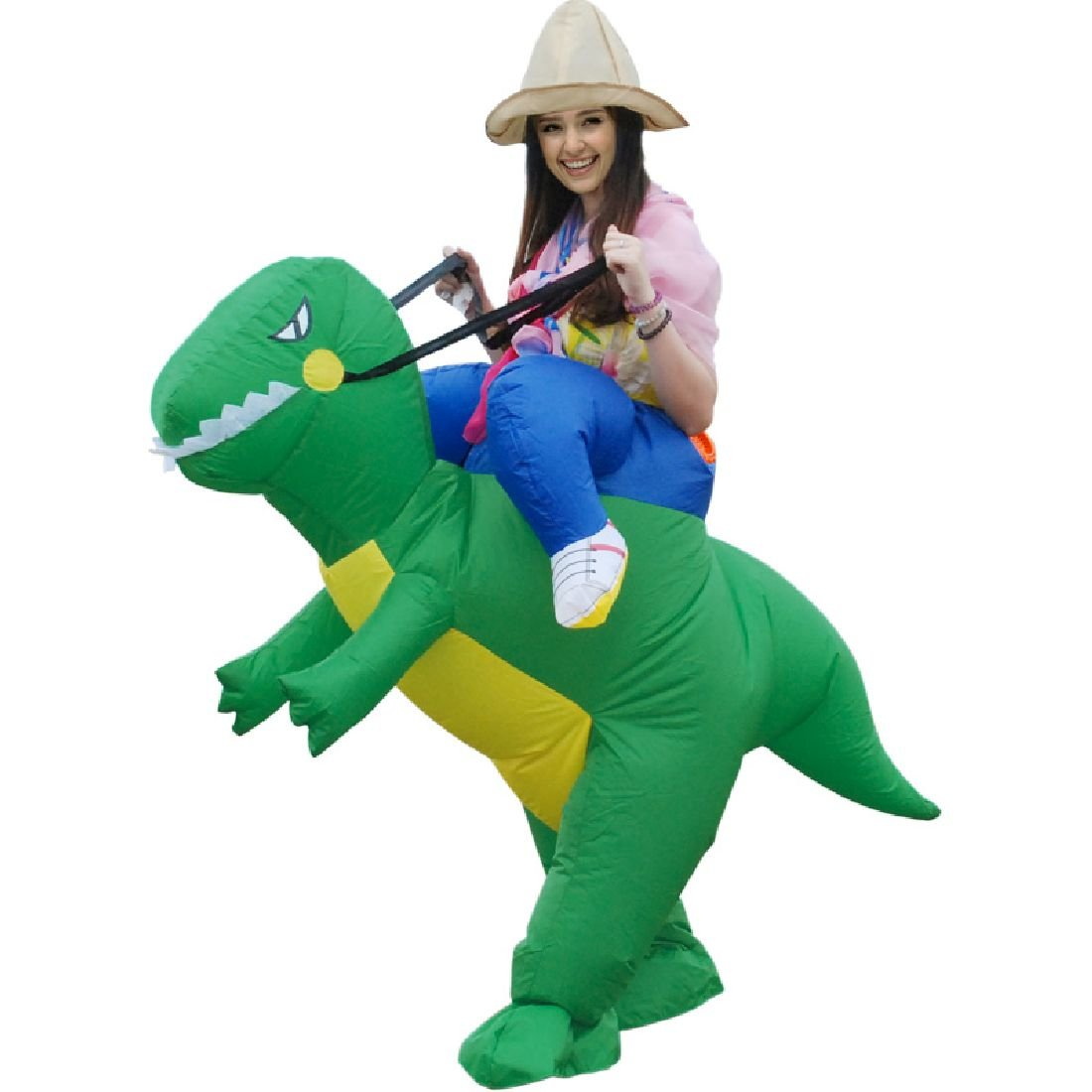 Inflatable Dinosaur Costume 3 Size Halloween Cosplay Animal Green Dino Rider