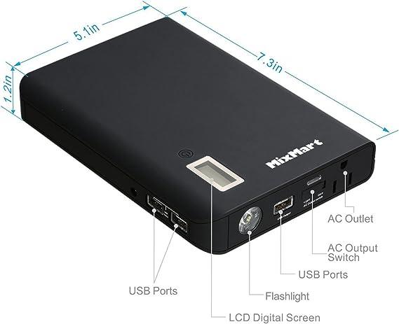 MixMart 24000mAh Power Bank con 3 Puertos USB & 1-AC Outlet para ...