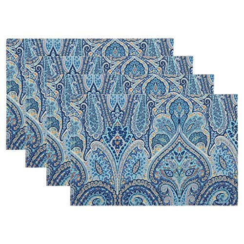 (Waverly Home Indoor Outdoor Acrylic Coated Fabric Placemats, Set of 4 (Blue/Yellow Paisley))