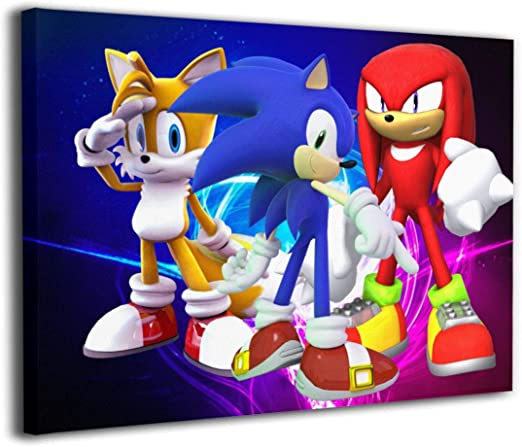 Amazon Com Customgogo Sonic The Hedgehog Painting Picture Canvas Print Home Wall Artwork Hanging Paintings Abstract Modern Style Ready To Hang For Bedroom Bathroom Living Room Office Decoration 16x12 Inch Posters Prints