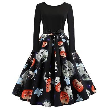 Femmes Robes Halloween Citrouille Imprimé Vintage Manches Longues A - Ligne  avec Ceinture Vêtements Deguisement Halloween 8571158ed49
