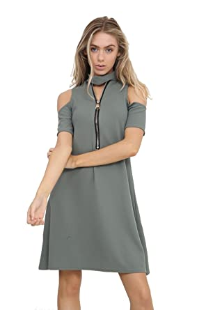 3ec00a25b84e New Ladies Ziped Choker V Neck Cut Shoulder Womens Midi Swing Dress Top  (M-L) Khaki  Amazon.co.uk  Clothing