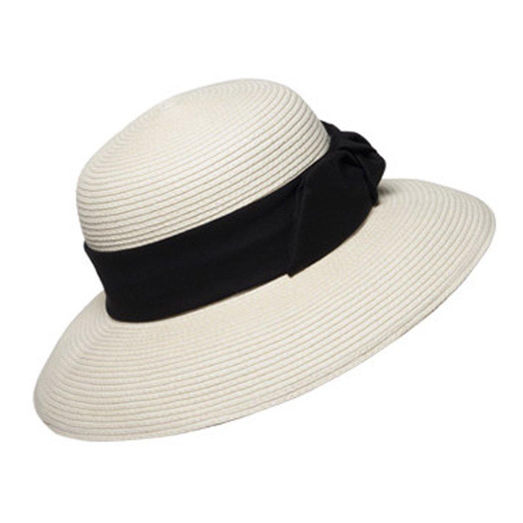 Womens Summer Sun Hats Bowknot Wide Brim Beach Cap Floppy Leisure Straw Hat