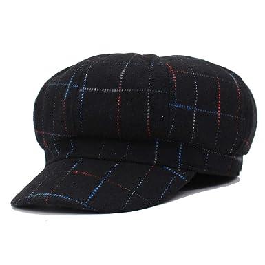 Newsboy Cap Women Octagonal Hats Beret Gorras Planas Snapback Casquette Sun,Black