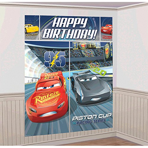 (Disney Cars 3 Lighning McQueen Kids Party Scene Setter Wall Decorations Kit - Kids Birthday and Party Supplies Decoration)