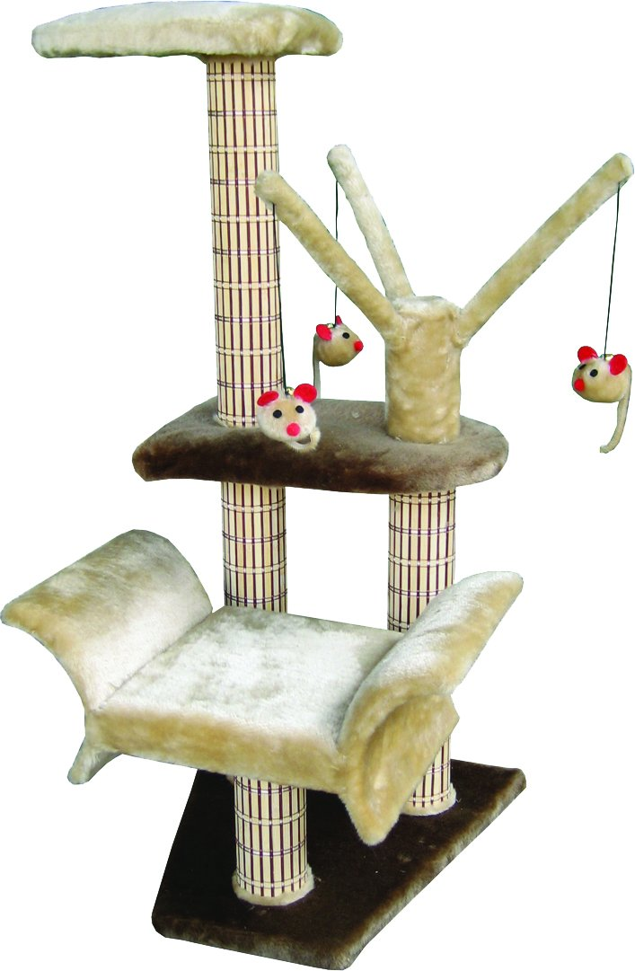 Penn Plax Cat Tree Tower, Lounge, and Perch with Dangling Mouse Toys, Brown/Beige, 34 Inches High