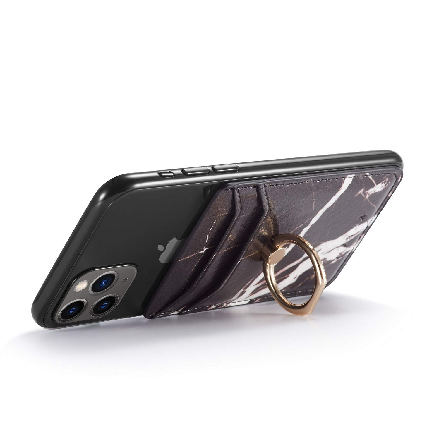 White Phone Card Holder with Ring Grip Stand Adhesive Stick-on Credit Card Wallet for iPhone and Android