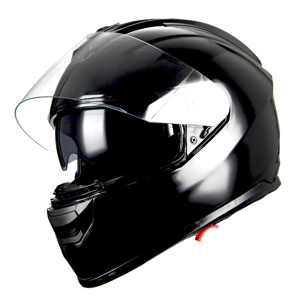 1Storm Motorcycle Full Face Helmet Dual Visor Sun Shield Glossy Black