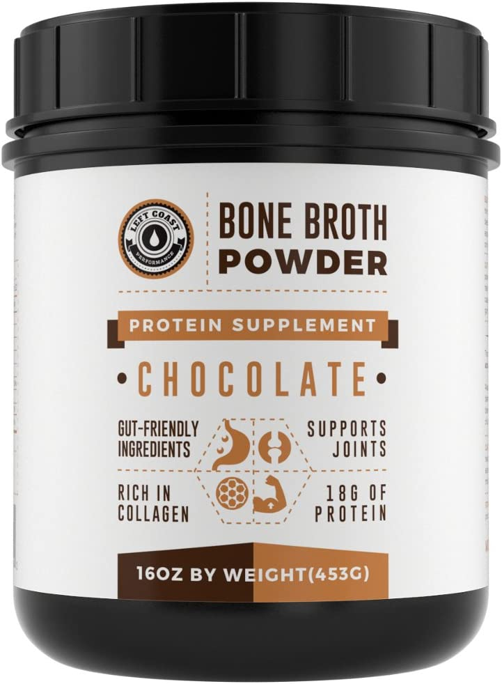 Bone Broth Protein Powder Chocolate 16Oz, Grass Fed – Non-GMO, Gut-Friendly, Dairy Free Protein Powder, Left Coast Performance