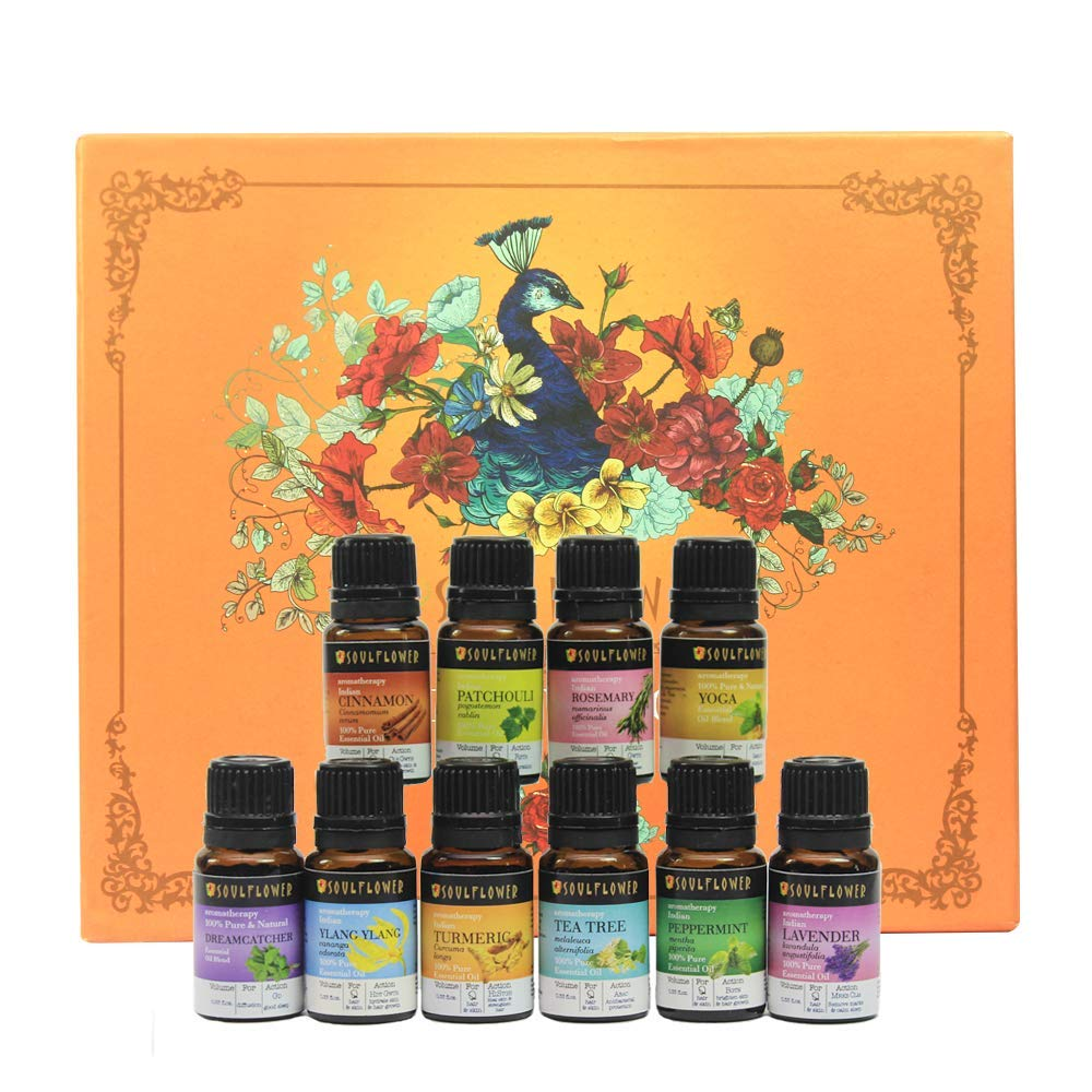 Soulflower Aromatherapy Top 10 Essential Oils - 100% Pure Premium Quality Peppermint,Tea Tree,Rosemary,Cinnamon,Patchouli,Yoga,Dreamcatcher,Ylang Ylang,Turmeric,Lavender - Therapeutic Grade(10 x10 ml) by Soulflower
