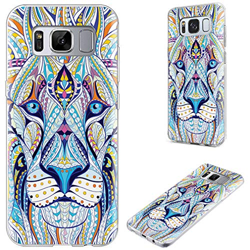 S8 Case,S8 Case Girls,VoMotec Shockproof Anti-Scratch Slim Flexible Soft TPU Rubber Full Protective Shell Cover Cases Samsung Galaxy S8,Totem Tattoo Head The Lion (Girly Best Friend Tattoos)