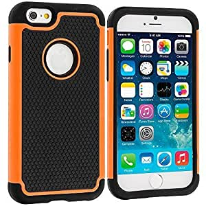 Accessory Planet(TM) Black / Orange Hybrid Rugged Matte Hard/Soft Protective Case Cover for Apple iPhone 6 Plus (5.5)