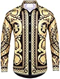 Pacinoble Men's Dress Shirt Long Sleeve Luxury Stylish Design Print Casual Button Down Shirt Party,Wedding,Banquet,Prom,Nightclub (Gold XXL)