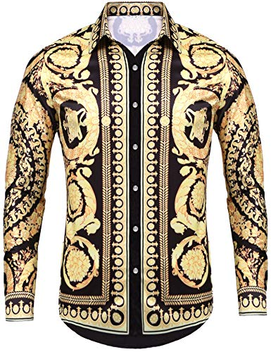 Pacinoble Men's Dress Shirt Long Sleeve Luxury Stylish Design Print Casual Button Down Shirt for Party,Wedding,Banquet,Prom,Nightclub (Gold ()